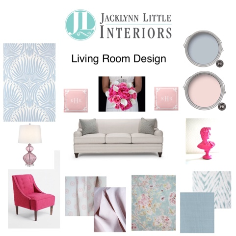 Living Room Design with Pantone 2016 Colours of the year Rose Quartz & Serenity